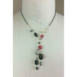Chicos Necklace Red Black Clear Grey Seed Bead